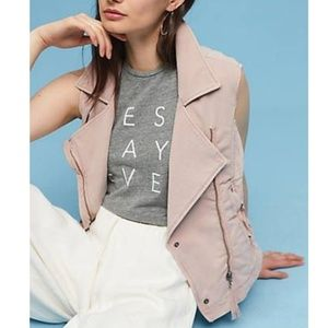 Anthropologie Marrakech Pink Knit Moto Vest Sz M